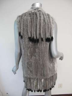 NWT Haute Hippie Gray/Black Tip Rabbit Fur Sleeveless Long Vest XS/S $