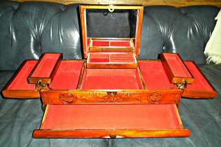 BEAUTIFUL Carved ASIAN THEME Large Wooden JEWELRY BOX Musical