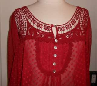 DANIEL RAINN size Large Red swiss dot tunic top boho gypsy look