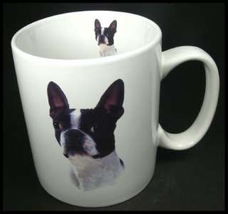 Boston Terrier Dog Large Ceramic Coffee Mug Cup White HTF