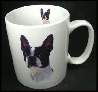 Boston Terrier Dog Large Ceramic Coffee Mug Cup White HTF