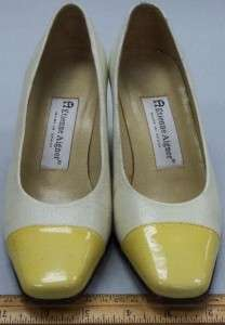 Etienne Aigner Womens Shoes Heels Pumps White/Yellow Sz 6M  Trendy Cap