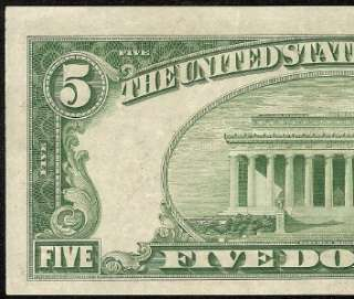 1934 D $5 DOLLAR BILL BLUE STAR SILVER CERTIFICATE NOTE Fr 1654