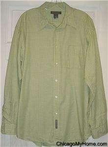 Banana Republic Mens Lime Green Plaid Cotton Button Down Long Sleeve