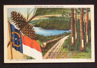 1940s North Carolina Greetings State Flag Pine Trees NC