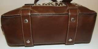 Michael Kors Bedford Monogram Jacquard Satchel Bag Purse Handbag Mocha