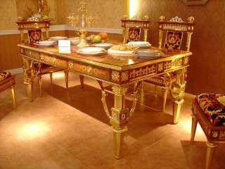 Venetian Dining Room Table & Chairs  24kt Gold Plated Italian Fabric