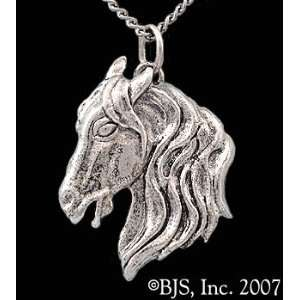 Horse Necklace, 14k White Gold, 20 Silver Box Chain, Horse Animal