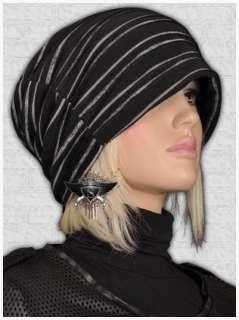 SH765 Black Punk Rock Stripe Beanie Skull Ski Hat Cap