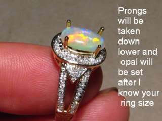 GEM CRYSTAL OPAL & DIAMOND RING 14k Gold  Layaway Available