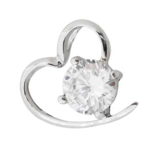 Lovely open heart hugging a 1.46ct CZ in .925 Sterling Silver. This
