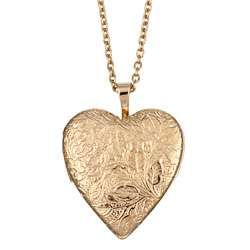 Goldplated Brass Floral Engraved 20 mm Heart Locket Necklace