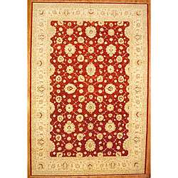 Hand knotted Oushak Red/ Ivory Wool Rug (12 x 179)