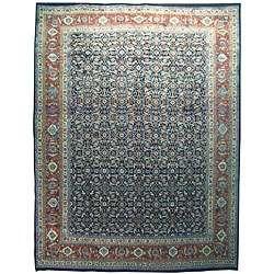 Tabriz Hand knotted Navy Wool Herati Rug (96 x 126)