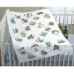 Alphabet Dreams Stamped Cross Stitch Quilt Top