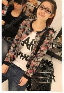 Fashion Girl Lady Long Sleeve Comic Cartoon Jacket Outerwear Coat