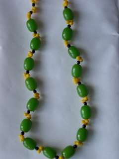 Antique Art Deco original green amber/faturan necklace