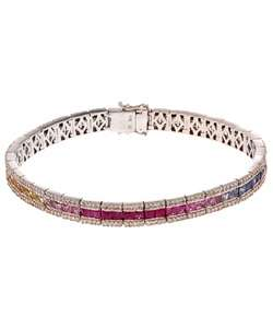 14k White Gold 1 7/8ct Diamond Multi Color Sapphire Tennis Bracelet