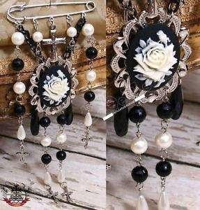 GOTHIC DOLL Lolita Rose Cameo Pearls Brooch Kilt Pin G