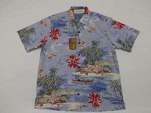 TOMMY BAHAMA Mens BLUE HOLIDAY ESCAPE 100% SILK PARADISE SHIRT NWT S