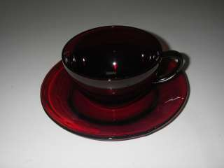 Anchor Hocking Glass ROYAL RUBY R1700 Cup & Saucer Set