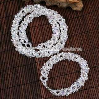 AB White Crystal Glass Bead Weave Necklace Bracelet Set