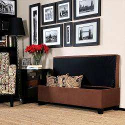 Portfolio Blane Dark Brown Microfiber Wall Hugger Bench Trunk Storage