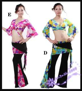 GD belly dance top pants costume black floral M L ins30