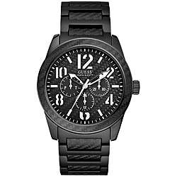 Guess Mens Chronograph Black Plated Aluminum Watch