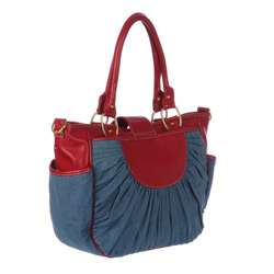 Mia Belle Baby Denim and Cherry Red Diaper Bag  Overstock