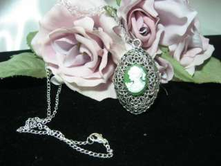 ELEGANT OVAL VICTORIAN CAMEO PENDANT W/ 19 CHAIN ~ 5 COLOR CHOICES