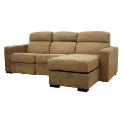Holcomb Tan Microfiber Storage Chaise and Reclining Sectional
