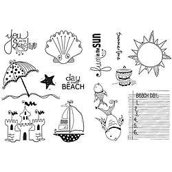 Unity Stamp Beach Day and Sun Rays Unmounted Red Rubber Stamps