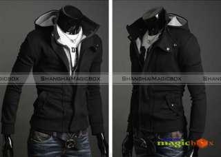 Slim Fit Hoody Hoodie Hooded Jacket Coat New Grey Black #013