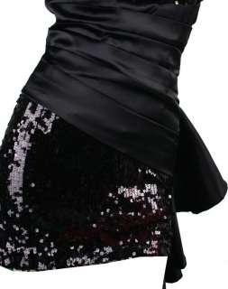 Pleated Waist Flounce Belt Strapless Clubwear Dresses S M L XL Black