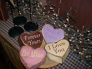 PRIMITIVE VALENTINE BLOCK SIGN~~SWEETHEART HEARTS~~LOVE