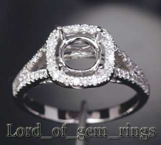 7mm Round Cut 14K White Gold Pave .44ct Diamond Halo Engagement Semi