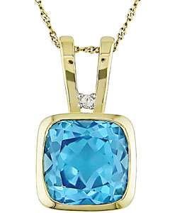 14k Gold Blue Topaz Diamond Necklace (Set of 6)