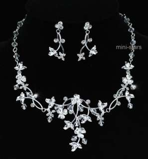 Bridal Wedding Handmade Crystal Necklace Earrings Set AS1210
