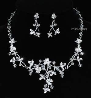 Bridal Wedding Handmade Crystal Necklace Earrings Set AS1210