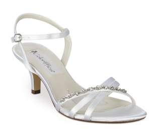 White Satin Rhinestone Low Heel Bridal Shoes