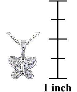 14k White Gold Diamond Butterfly Pendant