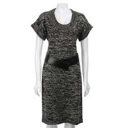 Calvin Klein Womens Scoop neck Belted Sweater Dress