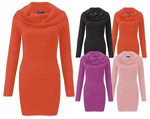 Long Sleeve Cowl Neck Knitted Jumper Dress Womens Knitwear