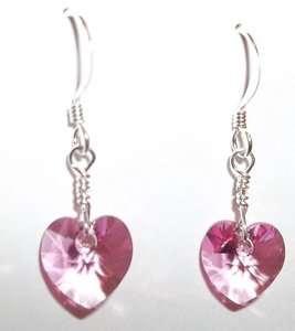 Child/Girl/Petite Earrings Rose (pnk) Swarovski Heart Sterling Silver