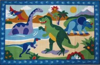 Dinosaurs Mountains Volcano Water Kids Nylon Area Rug