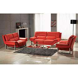 Contemporary 3 piece Red Leather Sofa, Loveseat and Chair Set