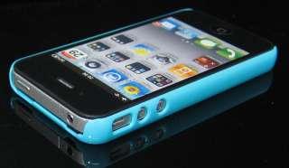 Steel Metallic iphone 4 4S Blue Back Hard Case Cover Bumper