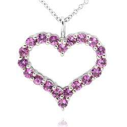 Sterling Silver Pink Sapphire Heart Necklace