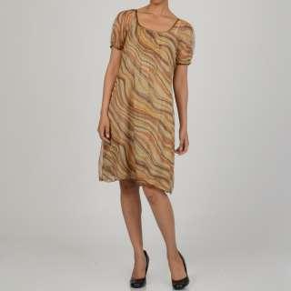 La Cera Womens Short Sleeve Pleated Chiffon Dress